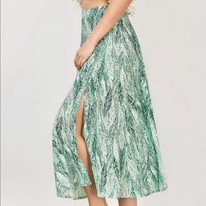 Zaful Leaf Palm Midi Maxi Flowy Skirt Size M